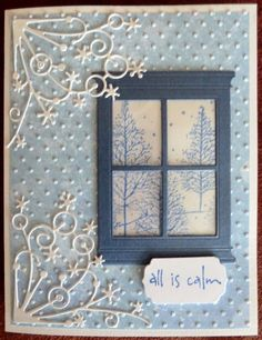 Poppy Stamps Madison die and Memory Box Snow corner die. Love this winter card.
