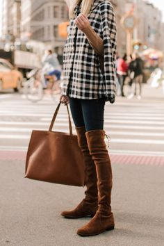 How to style a cape for Fall. Pair your favorite gingham cape with over the knee boots and matching brown tote. This outfit has all the Fall feels. #Fall