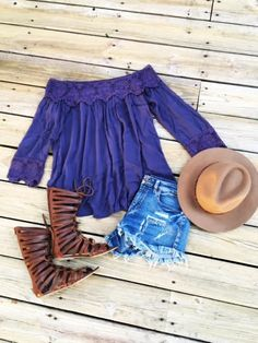 Go Boho or Go Home top in Purple
