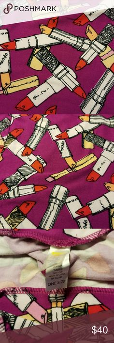 NWOT Lularoe Lipstick Leggings Lularoe brand new leggings buttery soft in size OS 2-10. Gorgeous lipsticks with a light purple background. LuLaRoe Pants Leggings
