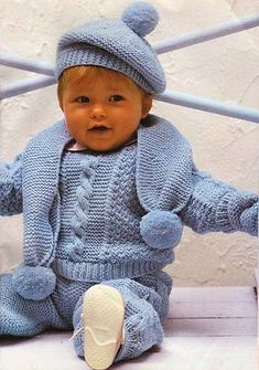 "Baby Set - Sweater Trousers Beret Scarf & Mittens DK Knitting Pattern 17"" -  22"""