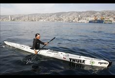 Freya Hoffmeister of Germany paddles in her kayak as she arrives at the port of Valparaiso. Hoffmeister began on August 30, 2011 from the Quilmes Yachtclub in Buenos Aires in a quest to be the first woman to sail the entire coast of South America, according to local media reports.