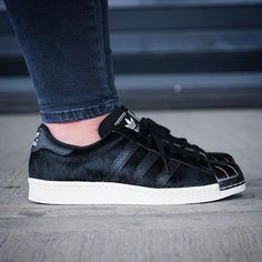 "Adidas Originals Superstar 80's metal toe ""black pony hair""."