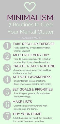 7 Routines to Clear Your Mental Clutter Minimalism isn't just about awareness of our physical environment – taking the time to clear your mental c… - New Site Physical Environment, Regular Exercise, Self Improvement, Self Help, Health Tips, Health Benefits, Health Care, Meditation, Stress