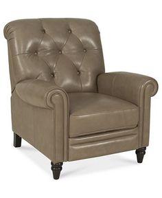 "Martha Stewart Collection Leather Recliner Chair, Bradyn 36""W x 41""D x 41""H - Chairs - furniture - Macy's"