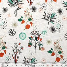 Teal Green Orange Retro Floral Cotton Jersey Slub Knit Fabric