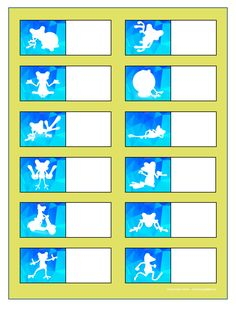Board for the green frog silhouette matching game. Find the belonging tiles on Autismespektrum on Pinterest. By Autismespektrum