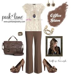 Office Glam, created by parklanejewelry on Polyvore  Park Lane Jewelry featured: Splendor necklace, Casablanca earrings, A La Mode bracelet & ring