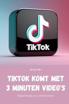 TikTok verlengt video's naar drie minuten; digitaal feestje voor content creators 🎉 -- TikTok is eind 2020 gaan experimenteren met het aanbieden van drie minuten content in plaats van de 60 seconde-durende video's op haar platform. Veel gebruikers gaven aan dat zij behoefte hebben aan langere mogelijkheden om hun content, hun boodschap, te delen. Hier heeft TikTok naar geluisterd en TikTok gaat vanaf heden deze nieuwe feature breder uitrollen. Social Media Company, Facts, Fitness, Youtube, Youtubers, Youtube Movies