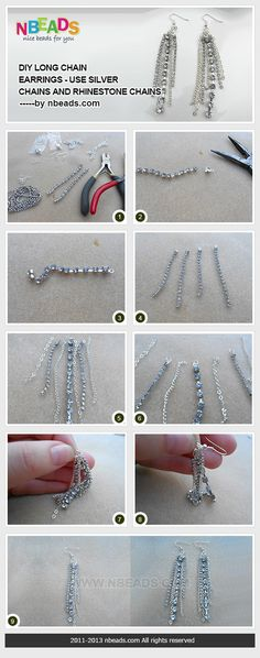 diy long chain earrings - use silver chains and rhinestone chains