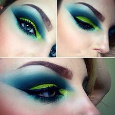 This amazing eye makeup features a bright lime green lid, a blue green cut crease, and multi-tipped winged liner. Pick up some electric eyeshadows and use this look as your inspiration.