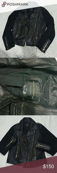 French Connection Genuine Leather Biker Jacket Real Leather Motorcycle Inspired Jacket with lurex gold knit sleeves and Gold metal details French Connection Jackets & Coats