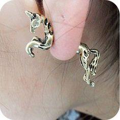 retro punk Unicorn Horse piercing earrings