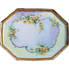 Beautiful Vintage J. Limoges France Hand Painted Wild Yellow Roses Floral Tray by the Early Chicago Artist, Kimmel China Porcelain, Painted Porcelain, Limoges China, Chicago Artists, Hand Painted Plates, Vintage Plates, China Painting, Yellow Roses, Antiques