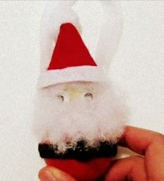 Santa ornament. Made from a light bulb.