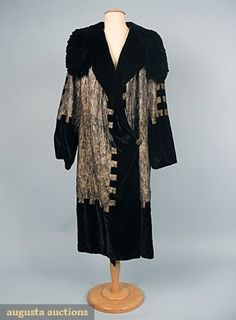 Liberty, Paris gold lame and black silk opera coat with shirred collar and strong geometric design.  augusta-auction.com