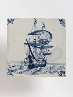 Wall tile, Harlingen, Netherlands, 1650-1700, tin-glazed earthenware with painted decoration in blue with manganese outline a ship, ox head corners. V C.569:1-1923