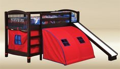 Kids Walnut Loft Bed with Slide and Red Pop Tent Canvas Bunk Bed With Desk, Loft Bunk Beds, Kids Bunk Beds, Discount Furniture Stores, Office Furniture Stores, Junior Loft Beds, Bed With Slide, Bed Slide, Kids Room Furniture