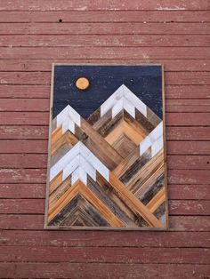 Portrait Handmade reclaimed wood snowcapped mountain peaks wall art with stars and moon in night sky Reclaimed Wood Wall Art, Reclaimed Wood Projects, Wooden Wall Art, Wood Art, Wall Wood, Diy Wood, Wood Walls, Salvaged Wood, Wood Wall Art Decor