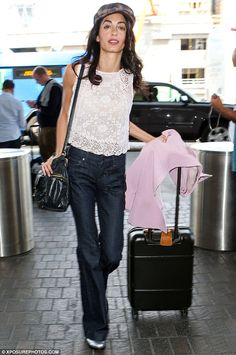 Amal Clooney seen at LAX after celebrating George's birthday #dailymail