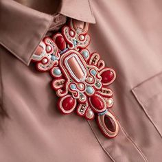 Soutache Necklace, Diy Jewelry, Cufflinks, Bead, Brooch, Embroidery, Decoration, Outfits, Fashion