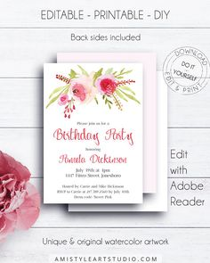Floral Editable Birthday Invitation, with charming and elegant hand-painted watercolor floral design - in romantic and glam style.This dazzling watercolor invitation template is an instant download EDITABLE PDF so you can download it right away, DIY edit and print it at home or at your local copy shop Amistyle Art Studio on Etsy