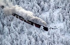 A train of the Brocken Railway steams through a winter landscape with snow-covered pine trees as it approaches its destination on the Brocken Mountain in the Harz region of northern Germany, Dec. MSNBC Week in Pictures Train Tracks, Train Rides, Train Trip, Snowy Woods, Snowy Forest, Black Forest, Trans Siberian Railway, Bonde, Old Trains