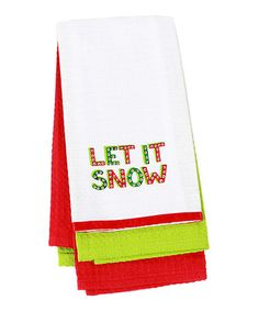 Another great find on #zulily! 'Let It Snow' Dish Towel - Set of Three #zulilyfinds