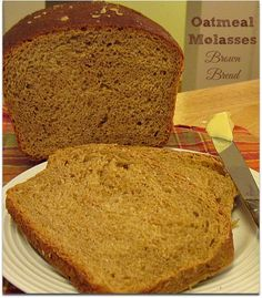 Oatmeal Molasses Brown Bread - If only I could do justice to the sweet, yeasty, hearty perfume emitting from the oven when these beauties were baking. I could barely restrain myself from loping off a big slice and slathering it with butter. Bread Machine Recipes, Bread Recipes, Cooking Recipes, Oatmeal Bread Recipe For Bread Machine, Oatmeal Molasses Bread Recipe, Recipes With Molasses, Cinnamon Bread, Brown Bread Recipe, Bread Bun