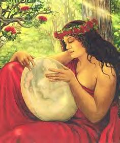 """Haumea is the Hawaiian Great Earth Goddess, sometimes equated with La'iLa'i, the first woman. Her children are said to have been born from different parts of her body, which befits an Earth Goddess. She is associated with Food Supply, Marriage, Birth, and Rebirth. She is called Haumea """"of mysterious forms, of eightfold forms, of four hundred thousand forms."""" There is no single word haumea in Hawaiian, but hau can mean """"a ruler"""" and mea can mean """"reddish (like red earth)."""""""