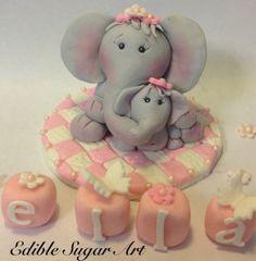 Fondant Elephant Mama and Baby