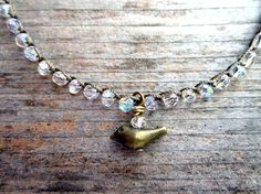 Little bird crocheted anklet in clear crystals by Sydnejo on Etsy, $18.00
