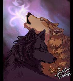 Raven & Jack, the half-blood twins in their wolf form (This love by TheMysticwolf.deviantart.com on @deviantART)