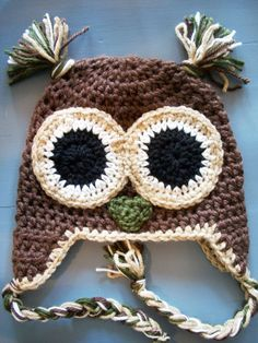 Crochet Baby Boy Owl Beanie Hat  Size 12 MonthsAdult by wadamska