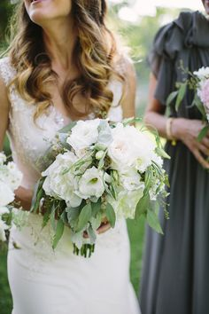 Warren + Kathryn / Brooke Courtney Photography / White Green Bouquet