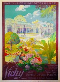 'Vichy'  Artist: LACAZE, JULIEN  Circa: 1920's Origin: France This beautiful spring like picture is by artist Julien Lacaze. Lacaze lived from 1886-1871 and was a visual artist. This and other works are available to purchase in store or online.  http://www.vintageposters.us/vintage-poster/1277/Vichy