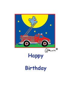 """Happy Birthday Fire Truck"" Birthday card."
