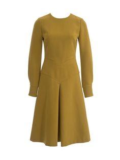 Box Pleat Dress  Burda Style 12-2013 #124 A Für den bedruckten dünnen braunen Wollstoff