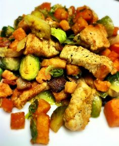 Paleo Chicken dinner - chicken, brussel sprouts, bacon and sweet potato.    Verdict - fantastic paleo meal!