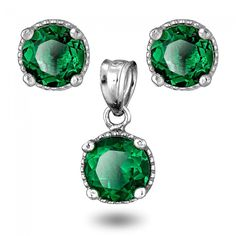 May Birthstone Emerald Color Round CZ Milgrain Stud Earrings and Pendant Set