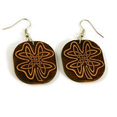 Laser Cut Wood Earrings  Celtic Clover  Dark by woodeyestudios, $18.00