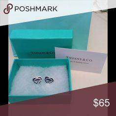 Tiffany 925 silver heart earrings Just like new. Excellent clean polished condition. Includes box and care of sterling silver card. Jewelry Earrings