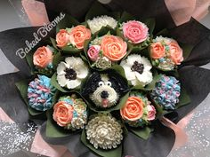 Birthday bouquet with pupcake www.bakedblooms.com