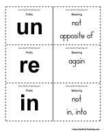 Prefix Flash Cards Word List - Have Fun Teaching