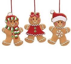 Amazon.com: Set of 3 Gingerbread Cookie Christmas Tree Ornaments Adorable Holiday Decor