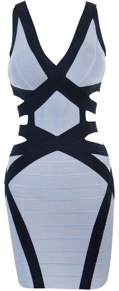 'Juliana' Grey & Navy Cut Out Bandage Dress