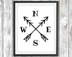 Printable art Compass cardinal directions by WallArtPrintables