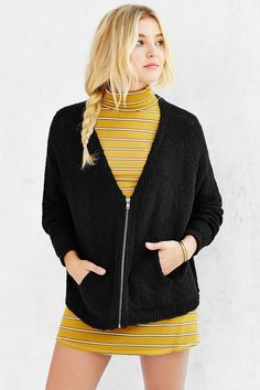 $49.99 Silence + Noise Mona Zip-Up Cardigan - Urban Outfitters