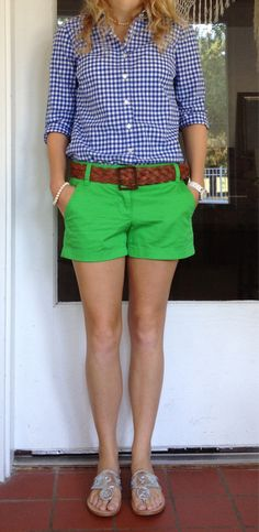 blue gingham button up + green shorts.