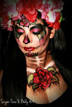 ... face painting on Pinterest | Sugar skull halloween, Sugar skull face Sugar Skulls Face Paint Black And White